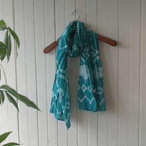 Accessories - Green white batik tie dye cotton scarf